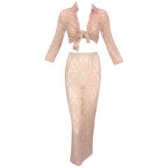 1996 Dolce & Gabbana Sheer Nude Mesh & Lace Blouse & Long Pencil Skirt Set