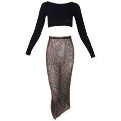 1990's Dolce & Gabbana Black Crop Top & High Waist Sheer Mesh Leopard Skirt