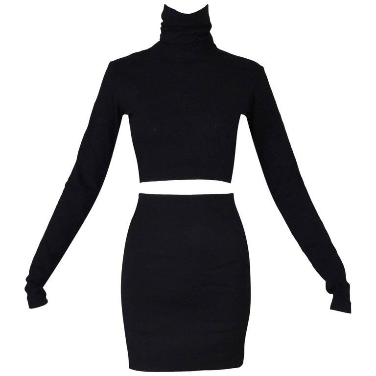 Dolce & Gabbana Black L / S Crop Top and High Waist Mini Skirt Ensemble, 1992