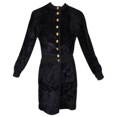 1990's Gianfranco Ferre Black Faux Fur Bomber Jacket Skirt & Bodysuit Ensemble