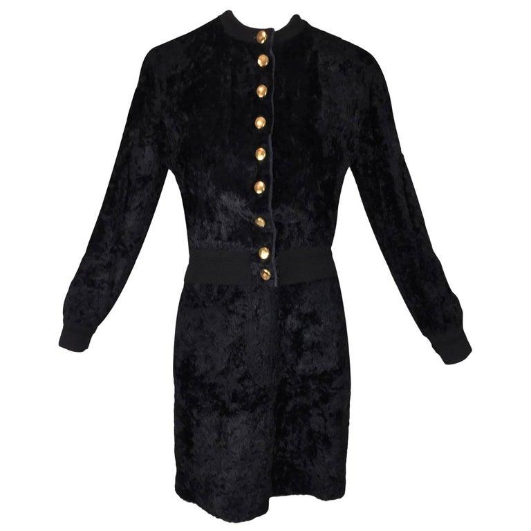 1990's Gianfranco Ferre Black Faux Fur Bomber Jacket Skirt & Bodysuit Ensemble