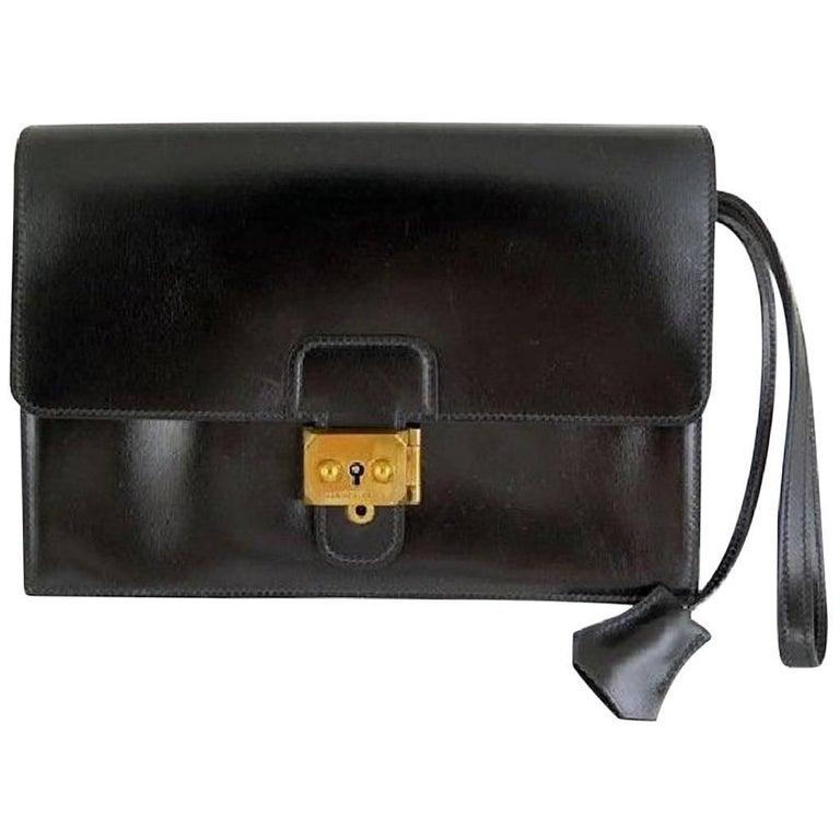 Hermes Black Leather Gold Envelope Evening Flap Wristlet Clutch Bag in Box
