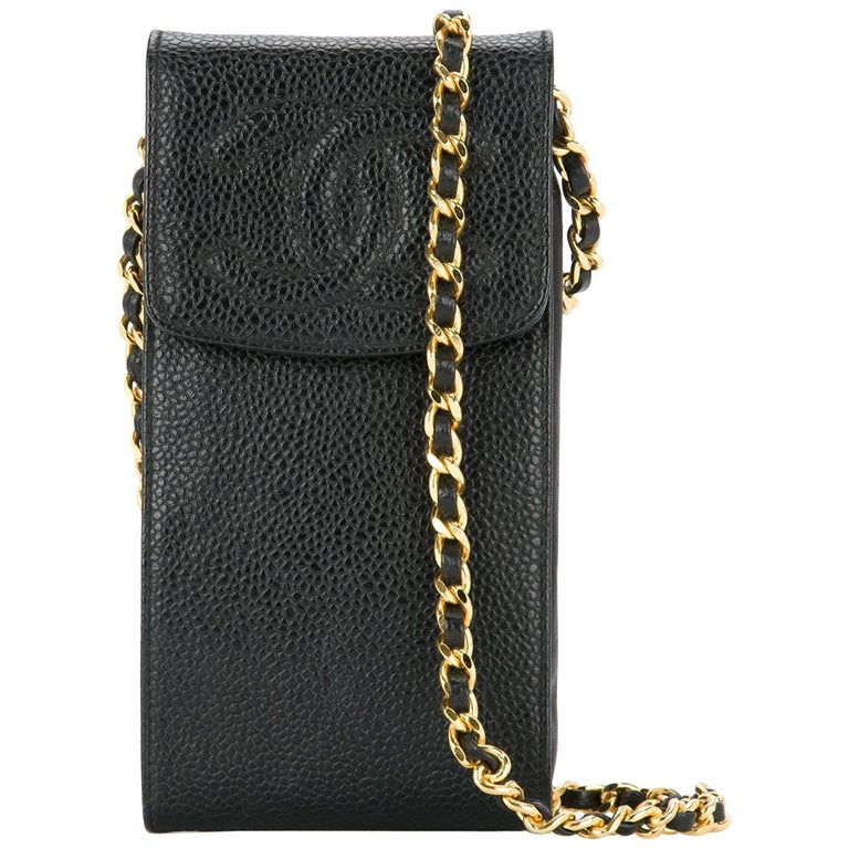 Chanel Black Caviar Leather Gold Cell Phone Travel Crossbody Shoulder Flap Bag