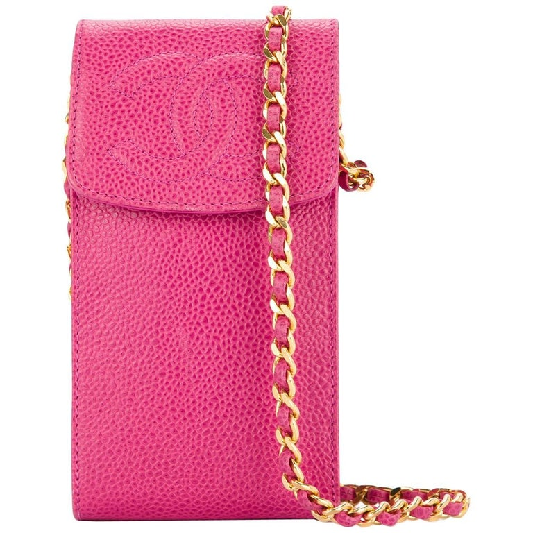 Chanel Pink Caviar Leather Gold Cell Phone Travel Crossbody Shoulder Flap Bag