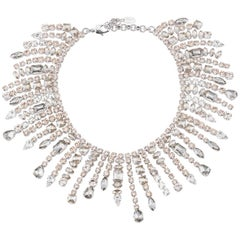 Giuseppe Zanotti Rose Gold Crystal Dripping Evening Collar Necklace in Box