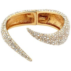 Giuseppe Zanotti Gold Brass Crystal Serpent Wrap Evening Cuff Bracelet