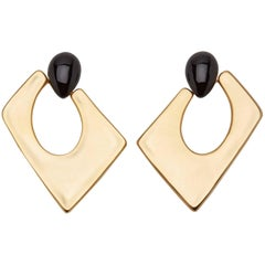 Giuseppe Zanotti Gold Brass Black Geometric Large Hoop Earrings