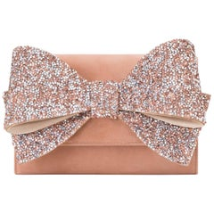 Giuseppe Zanotti Blush Crystal Evening Wristlet Clutch Bag