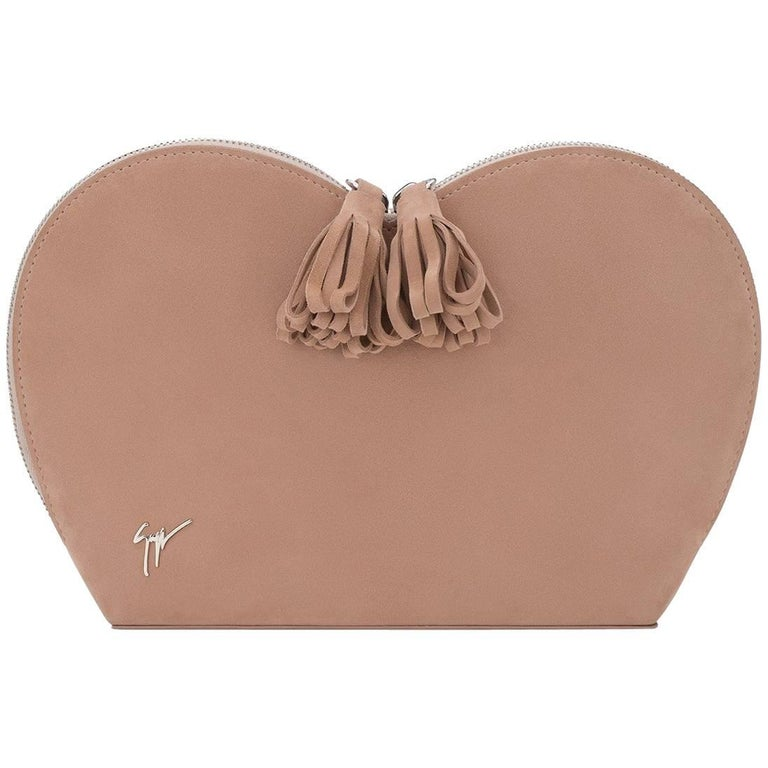 Giuseppe Zanotti Logo Blush Suede Dual Tassel Evening Clutch Bag