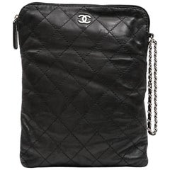 CHANEL Case for iPad in Black Soft Quilted Lambskin Leather