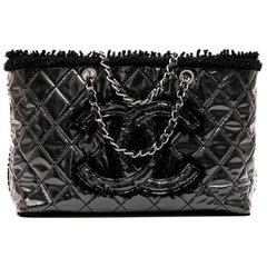 CHANEL Tote Bag in Black Tweed and Covered with a Plastic Layer