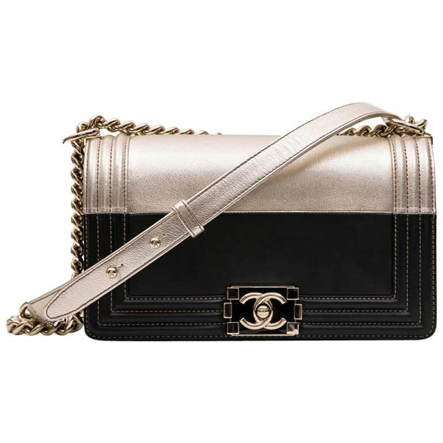 b204b966126465 Collector CHANEL Boy Bag in Black and Pale Gold Smooth Lamb Leather at  1stdibs