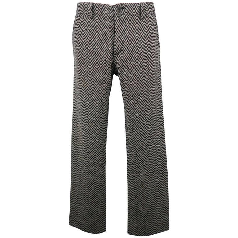 Men's MISSONI Size 30 Gray Chevron Print Wool / Nylon Knit Pants
