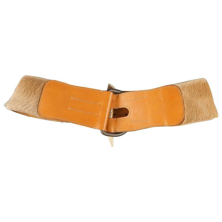 RALPH LAUREN Tan M Leather Horn Buckle Horsehair Belt
