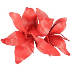 MARC JACOBS Poppy Red Leather Lilies Hair Pin