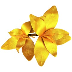 MARC JACOBS Metallic Gold Leather Lilies Pin