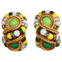 "Francoise Montague Green and Yellow ""Huit"" Clip Earrings"