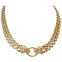 70'S Gold Link & Swarovski Crystal Snake Choker Necklace By, Trifari