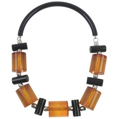 Judith Hendler Orange and Black Acrylic Lucite Neck Ring Necklace with Beads