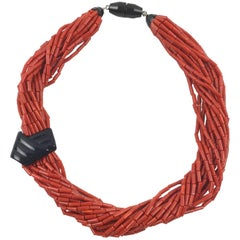 Angela Caputi Faux Coral Resin Multi-Strand Statement Choker Necklace