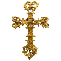 Christian Lacroix Paris Signed Pin Brooch Gilt Metal Pierced Baroque Cross