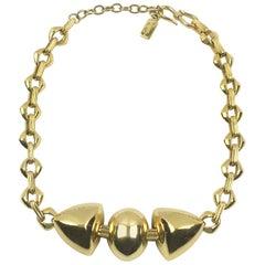 Yves Saint Laurent Paris Signed Geometric Gilt Metal Link Choker Necklace