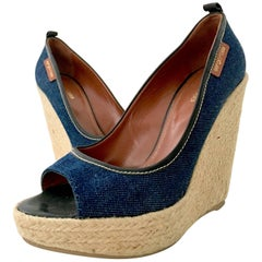 Contemorary Sergio Rossi Leather, Denim & Raffia Platform Wedge Shoes-39.5