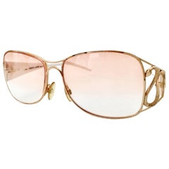 20th Century Roberto Cavalli White & 22K Gold Plate Logo Snake Eye Glasses