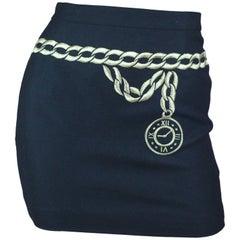 Escada Black Wool Mini Skirt with Trompe l'oeil Belt, circa 1980s