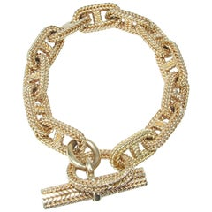 Hermès By Georges Lenfant Chaine D'ancre Braided Yellow Gold Bracelet LARGE