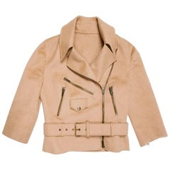 CELINE Perfecto Jacket in Beige Camel Hair Size 36FR