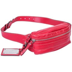 DOLCE & GABBANA Banana Belt Bag in Soft Red Leather and Beige Saddle Stitching