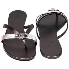 HERMES 'Corfu Nappa' Sandals in Metallic Gunmetal and Silver Leather Size 38FR