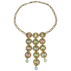 Pastel Multi Color Brutalist Vintage Disc Bib Necklace