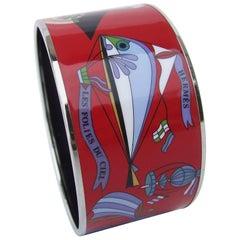 Hermès Printed Enamel Bracelet Les Folies Du Ciel Extra Wide PHW Size 70 RARE