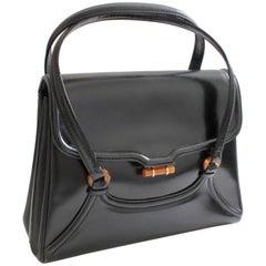 Bonwit Teller Made in Italy Vintage Box Leather Handbag with Bakelite Hardware