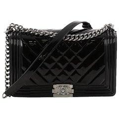 Chanel Boy Flap Bag Chevron Patent New Medium