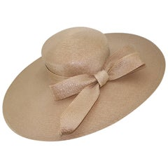 Frank Olive Beige Tone Oval Straw Hat With Bow, 1980s