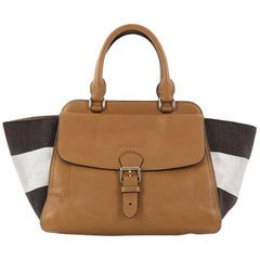 Burberry Harcourt Convertible Satchel Leather and Mega Check Canvas Medium