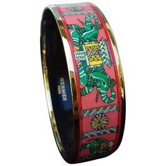 Hermès Printed Enamel Bracelet Torana Elephants Pink Green New Ghw Size 65