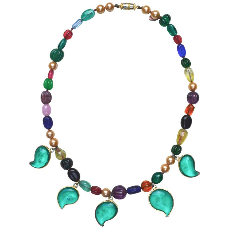 Chanel Gripoix Leaf Necklace, 1950s  For Sale