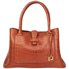 Loro Piana Autumn Leaves Matte Crocodile Leather Bellevue Media Bag, 2000s