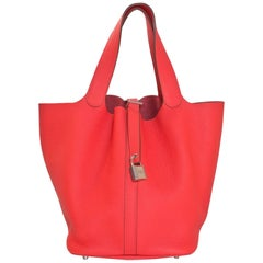 Hermes Rose Jaipur Taurillon Clemence Leather Picotin Lock GM Tote Bag