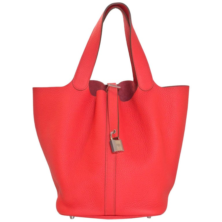 Hermes Rose Jaipur Taurillon Clemence Leather Picotin Lock GM Tote Bag For Sale