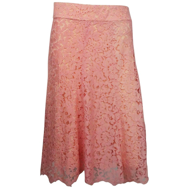Monique Lhuillier Pink Coral Lace Skirt