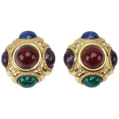 Givenchy Vintage Faux Cabochon Gold Tone Earrings