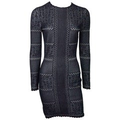 Alexander McQueen Navy and Ivory Knit Long Sleeved  Dress