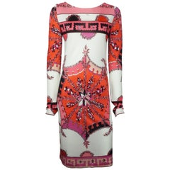 Emilio Pucci White and Pink Silk Print Long Sleeved Dress