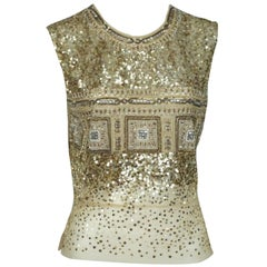 Reem Acra Gold Sequin and Beaded Sleeveless Top