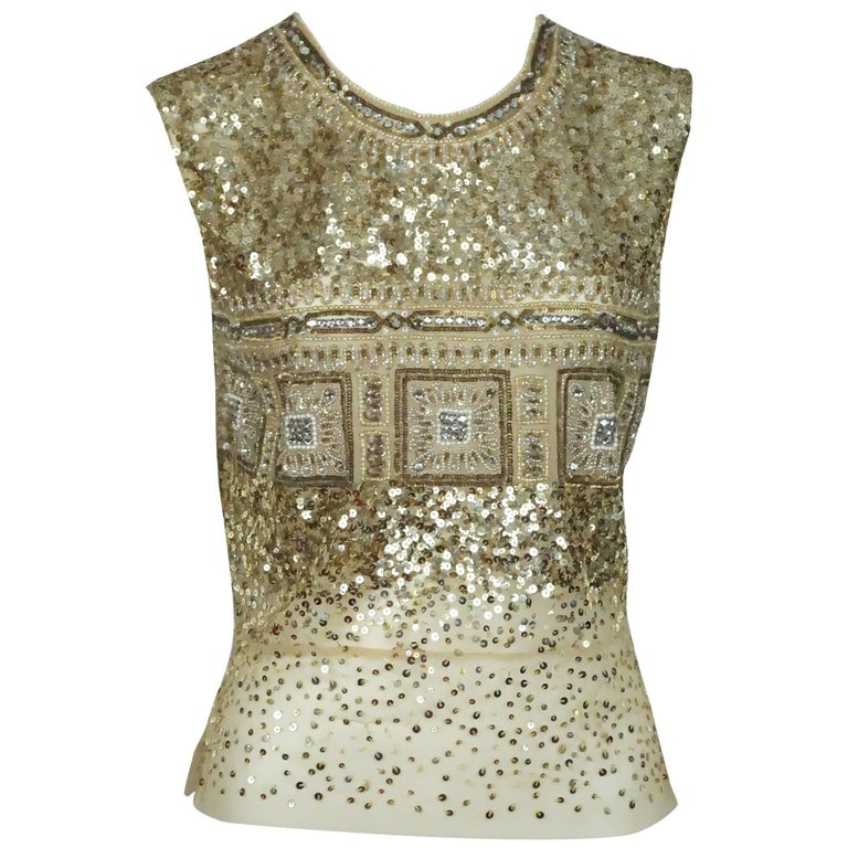 Reem Acra Gold Sequin and Beaded Sleeveless Top   For Sale